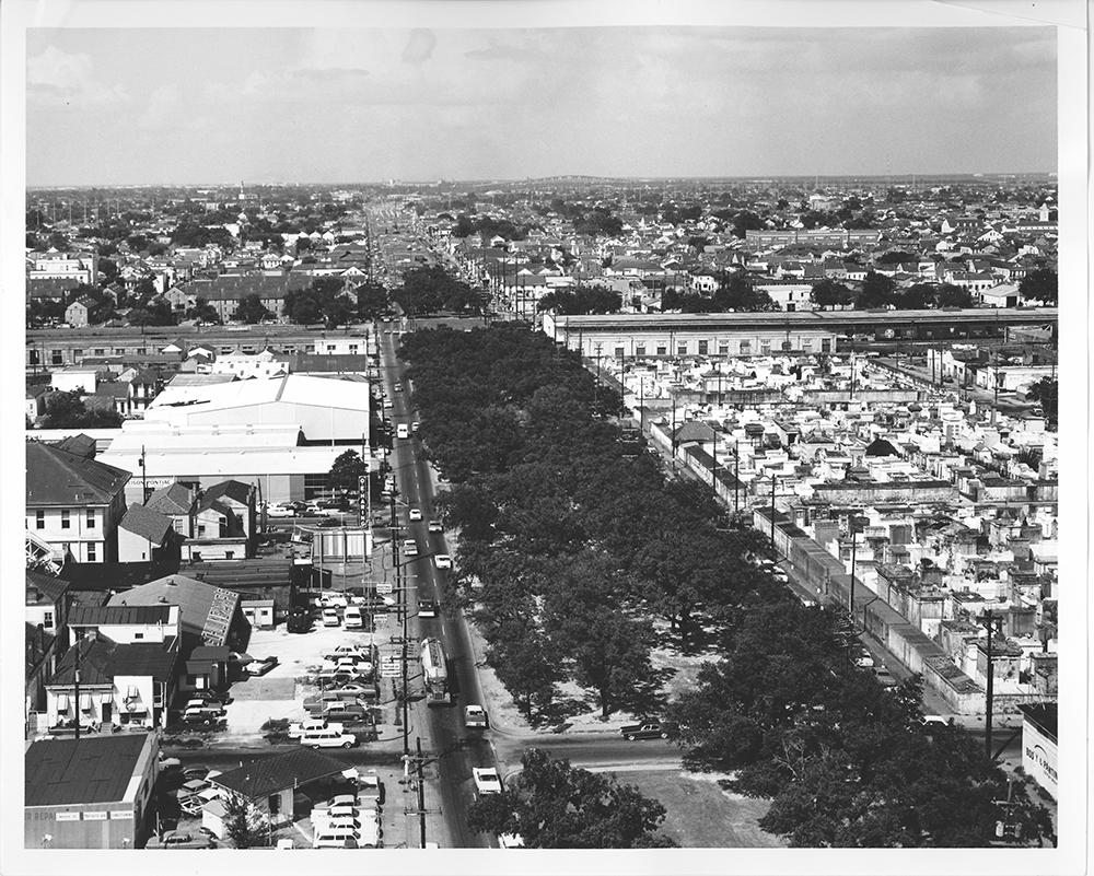 a broad greenway cuts through a city